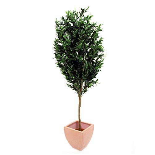 artplants – Künstlicher Olivenbaum mit 3455 Blättern, 325 Oliven, Naturstamm, 200 cm – Baum mit Oliven/Kunstbaum