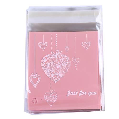SHIJIAN Backgeschirr-Tüten zum Dekorieren von Gebäcktüten, rosa Herz-Motiv, Kekse, Snack-Verpackung, Geschenktüten, Selbstklebend, 100 Stück