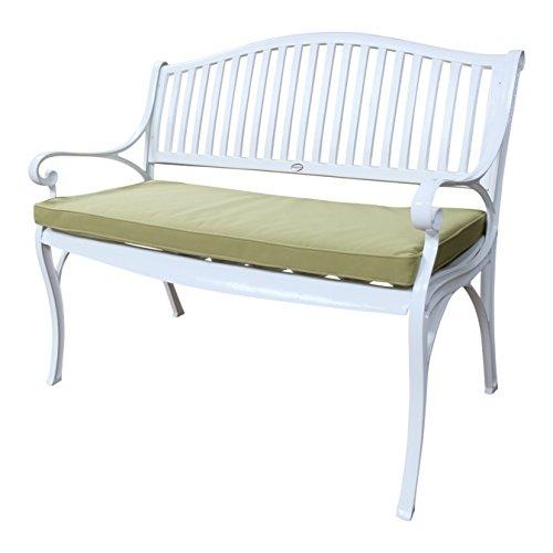 Lazy Susan - Banc de jardin en aluminium GRACE, Blanc (coussin vert)
