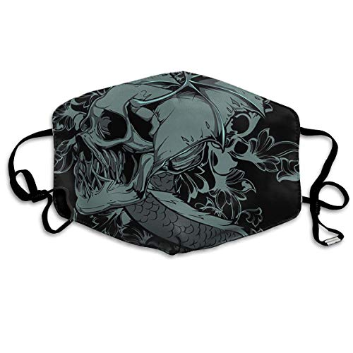 Monicago Masken für Erwachsene Unisex Dragon Skull Washable Polyester Anti Dust Mask - Reusable Safety Masks Mask for Running, Allergy,Flu,Protective Breath Healthy Safety Warm Windproof Mask