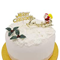 Merry Christmas Cake Decorations yule log cupcake toppers, {4 piece SET} Santa on Sleigh with Reindeer Merry Christmas Sign 2 x Holly Leaves Berries.