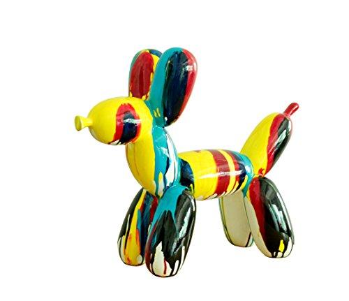 Meubletmoi Petit Chien Style Baloon - Figurine décorative - Couleurs laquées Jets de peintures Multicolores - Objet Design Moderne