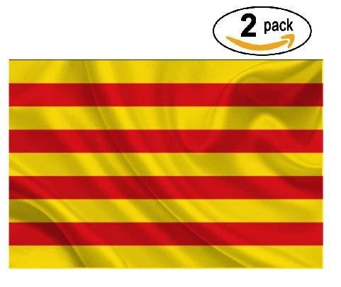 Cramesoj Bandera de CATALUÑA 150x90cm - 2 unitats - SENYERA CATALANA - Catalunya 90 x 150 cm