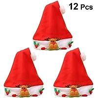 BESTOYARD Cappello Natalizio di Babbo Natale in Peluche per Bambini Natale  12PCS (Rosso) 1e023d2df44e