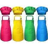 8 Pièces Tablier Enfant et Chapeau de Chef Set, Tabliers d'Enfant en Coton Ajustable pour Garçons Filles avec Tablier de Cuisine à 2 Poches pour Cuisine Boulangerie Porte (Couleur 2, Petit)