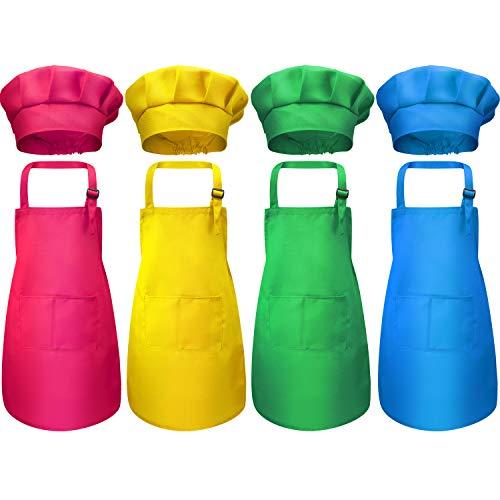 der Schürze und Kochmütze Set, Jungen Mädchen Einstellbare Kinderschürzen aus Baumwolle mit 2 Taschen Küchenschürzen für die Küche Kochen Backen Tragen (Farbe 2, Medium) ()