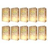 10 x Lichtertüten, Leuchttüten, Kerzentüten; schwer entflammbar; Farbe: weiß; Motiv: 2 HERZEN aus Kraftpapier für Teelichter und andere Kerzen (27cm x 15m x 9 cm)