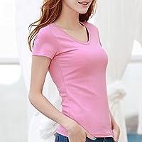 SHENHAI camiseta de mangas cortas de color sólido manga corta para mujeres de color puro manga corta de verano superior delgada, cuello de pico rosa, 5XL