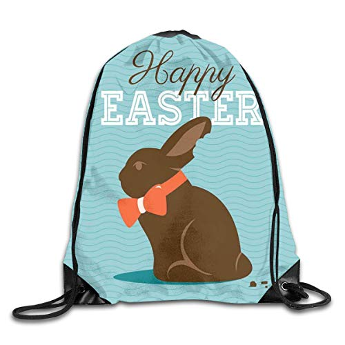 HLKPE Drawstring Backpacks Bags Daypacks,Chocolate Bunny with An Orange Bow Tie On A Wavy Stripes Background,5 Liter Capacity Adjustable for Sport Gym Traveling Blue Stripe Bow Tie
