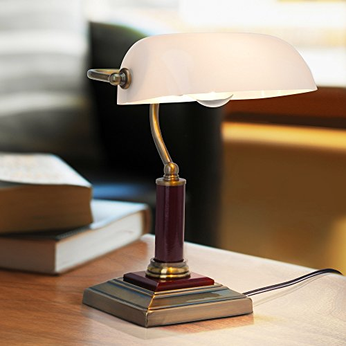 Elegante lámpara de banquero, lámpara de escritorio, con base de madera, 1x E27 max. 60W, metal / madera / vidrio, latón antiguo
