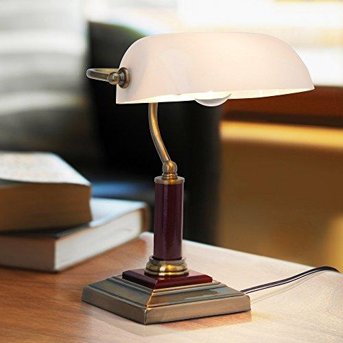 , Schreibtischleuchte, mit Holzsockel, 1x E27 max. 60W, Metall / Holz / Glas, messing antik (Antike Messing Touch-lampe)