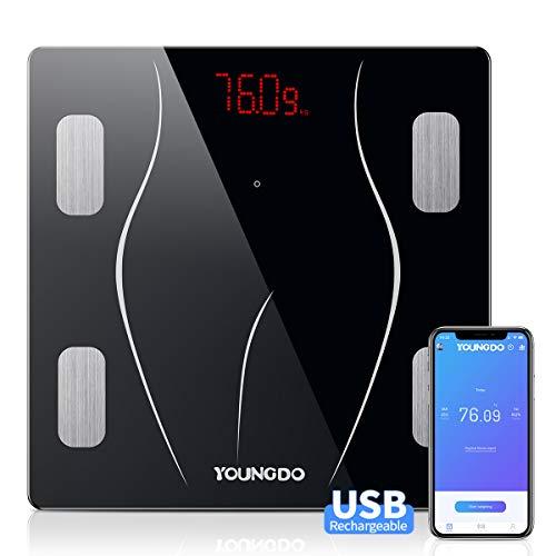 YOUNGDO Pèse Personne Impédancemètre Charge USB, Impedancemetre avec 23 Données Corporelles (BMI/BFR/Muscle/Eau/Graisse Corporelle/Masse osseuse/BMR etc), Balance Impedancemetre 999 Utilisateurs