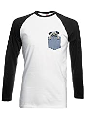 Pug in Pocket Dog Animal Funny Novelty Black/White Men Women Unisex Long Sleeve Baseball T Shirt