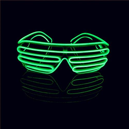 Lerway EL Wire Neon Kabel, Leuchtbrille Party LED Brille Sonnenbrille für Kostüme,Wilde Rave Auge Masken für Neujahr Club, Bar Disko (Grün, Schwarz Rahmen)