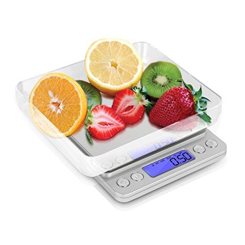 Kakuna Digitale Taschenwaage Diabetiker Waage - Feinwaage mit Tara Funktion bis 2kg für unterwegs und Reisen - Maße: ca. 13x10x2cm