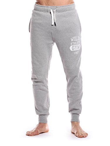 WOLDO Athletic Herren Jogger Jogginghose Trainingshose Sweatpants Slim Fit (M, Stanley / grau) (Adidas Hat Athletic)
