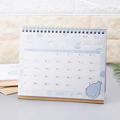 Dolphin Papier (Cuigu 2019 Schreibtischkalender, Zeichentrickmuster, Dolphin, Papier, Kalender, Büro, Ornament, Zeitplaner, Planer Annuel Agenda, zufälliger Stil)