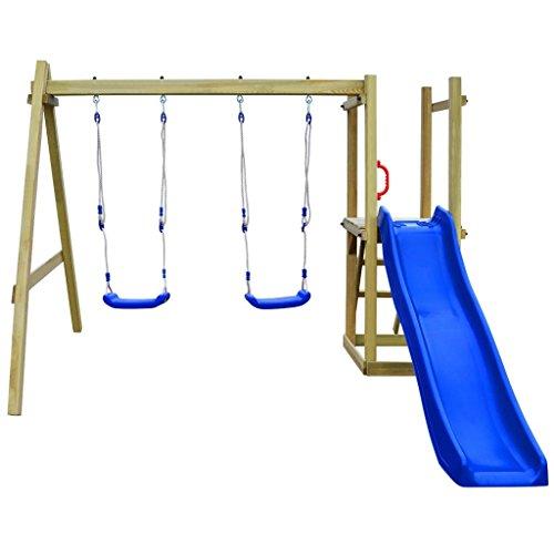 Festnight Spielturm Kletterturm Spielplatz mit Rutsche Leiter Schaukeln 242 x 237 x 175 cm Kiefernholz