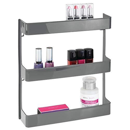 Mdesign porta medicinali - scaffale da parete in plastica robusta a tre ripiani - organizer bagno per accessori sanitari, medicinali, integratori alimentari e vitamine - grigio ardesia