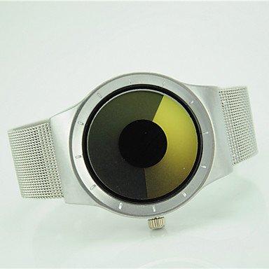 XKC-watches Herrenuhren, Damen Modeuhr Armbanduhr Quartz Legierung Band Cool Silber (Farbe : Gelb, Großauswahl : Einheitsgröße)