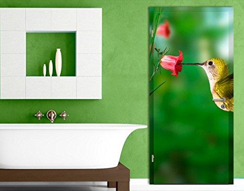 Carta da parati adesiva per porte Hummingbird And Blossom, Dimensione:L - 106x208.5cm;Dimensione:0cm x 0cm