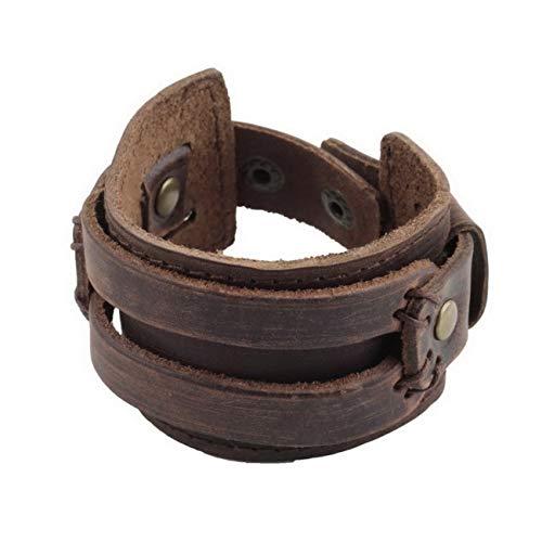 Elviray 1pcs Men Women Unisex Multi Thong Braided Thin Genuine Leather Bracelet Wristband Jewelry -