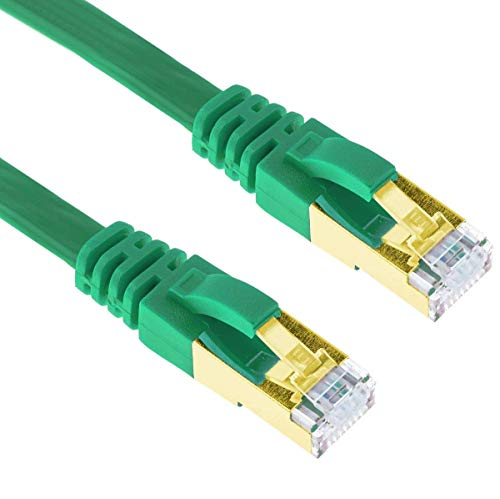 G-Shield 2m Cat7 Ethernet LAN Kabel 10 Gigabit 600MHz RJ45 Flachkabel - 2 Meter Grün Flat Component-video-kabel