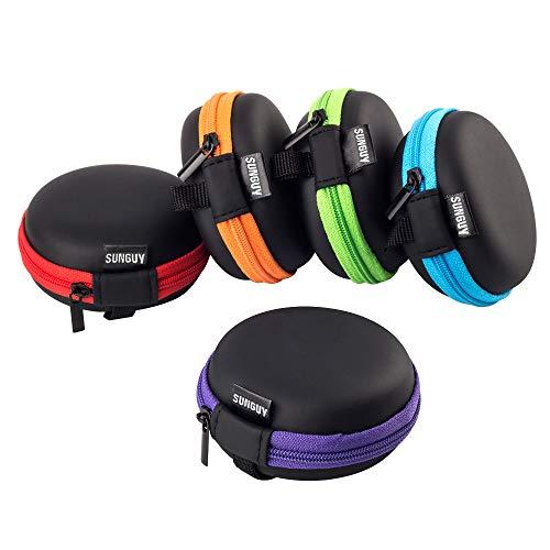 Earbud Fälle,SUNGUY [5-Pack] Runde Kopfhörer Reise-Tragetasche Aufbewahrungstasche für Panasonic Ergo Fit, Sennheiser CX 6.00BT, Betron B750, JVC Gumy, kabelloser Ino-Ear-Kopfhörer von Anker und mehr