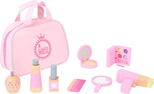 small foot 10607 Make-up Spielset aus Holz in rosa für Kinder, lustiges Rollenspiel in Tragetasche...