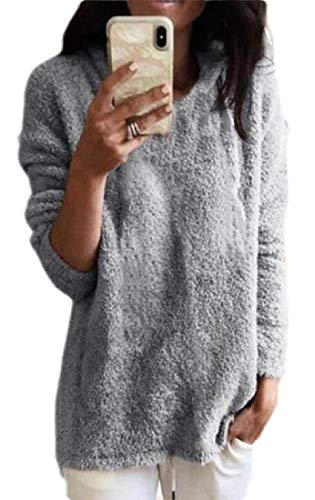 dahuo Womens Cozy Long Sleeve Crewneck Popcorn Knitted Loose Pullover Sweater Grey XL - Cashmere Deep V-neck Sweater
