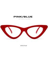 90f2767135 Zygeo Fashion Cat Eye Glasses Cap¨ªtulo para Las Peque?as Mujeres de Las  Lentes Tri¨¢ngulo Mujer Decoraci¨®n Gafas con Lente…
