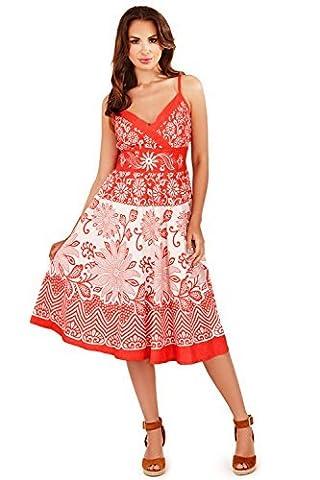 Pistachio Women's Midi Casual Dress Size-Medium-Uk 12-14 Coral