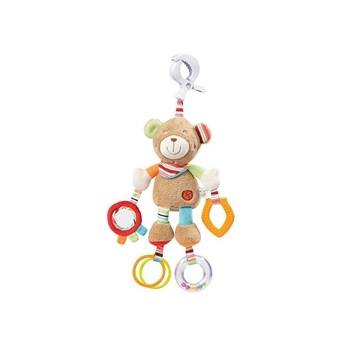 Fehn 091878 Activity-Spieltier Teddy – Motorikspielzeug zum Aufhängen mit Spiegel & Ringen zum Beißen, Greifen und…