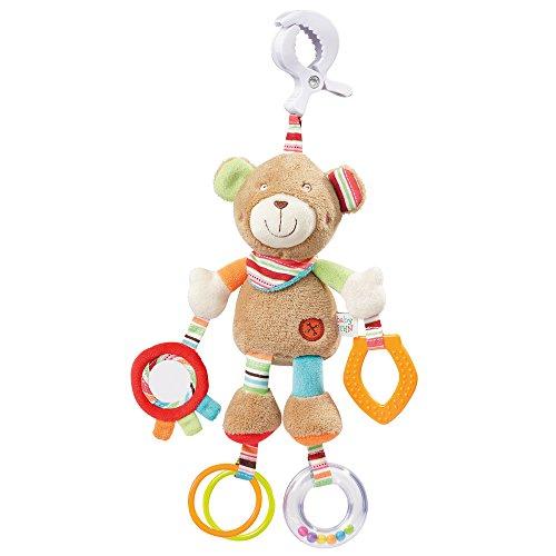 Fehn 091878 Activity-Spieltier Teddy - Motorikspielzeug zum Aufhängen mit Spiegel & Ringen zum Beißen, Greifen und Geräusche erzeugen - Für Babys und Kleinkinder ab 0+ Monaten