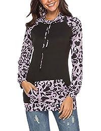 Sudaderas con Capucha para Mujer Jersey De Primavera Suéter Estampado Floral Manga Larga Ropa De Abrigo