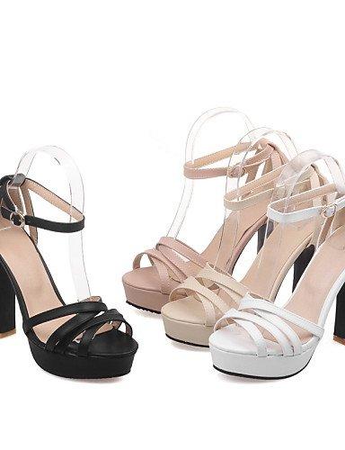 LFNLYX Chaussures Femme-Décontracté-Noir / Rose / Blanc / Beige-Talon Aiguille-Talons / Bout Ouvert-Sandales-Similicuir White
