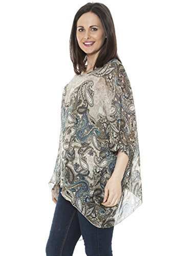 Ladies Womens Italian Lagenlook NEW BIG Paisley Print Silk Flowy Batwing Tunic Top Blouse One Size (One Size, Beige) (Neck Scoop Sleeve Batwing)