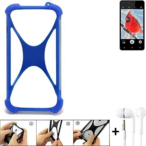 K-S-Trade Bumper für Allview V2 Viper i4G Schutzhülle Handyhülle Silikon Schutz Hülle Cover Case Silikoncase Silikonbumper TPU Softcase Smartphone, Blau (1x), Headphones