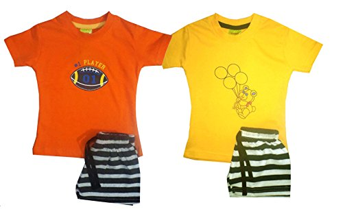 Shaishav Wears Cotton Baby Boy's T-Shirt and Shorts Set Pack of 2 (Combo 9, 2-3 Years)