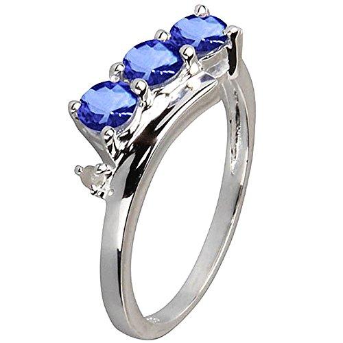 Tre stile pietra 1,70 carati ovale AAA diamanti tanzanite anello banda d'oro Dimensione 23,5