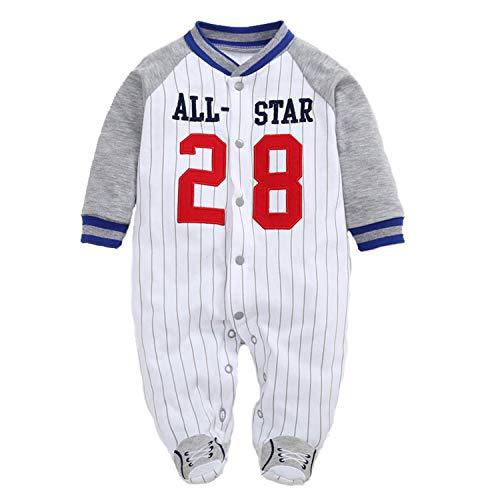 Cikuso Infants and young children cotton bag foot climb clothes leotard climbing clothes out clothes baseball uniform 6M(gray) - Grau Infant Baseball