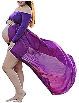 Abiti di gravidanza KOLY Vestito da proiezione delle donne di pregnants delle donne fuori dalle spalle vestito...