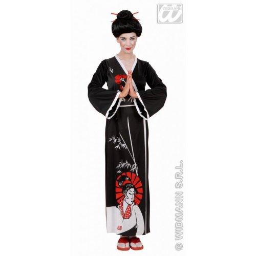 Sancto Drachenjägerin Geisha-Kostüm für Damen schwarz-Weiss M (Rotes Geisha Kostüm Für Erwachsene)