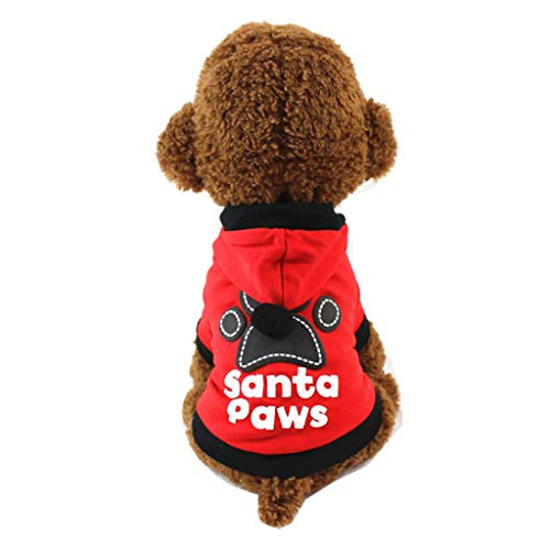 JSMeet Costume Pet Christmas Hoodie, Letter Print Santa Paws Sweatshirt T Shirt Puppy Dog Cat Tops Xmas Clothing Costume (Red) Paw Prints Hoodie