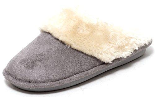 Damen Luxus Hausschuhe Slipper mit Kunstfell GREY Gr. 37 - 41 (6) (Billig Weihnachts Outfits Für Erwachsene)