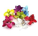 Nicedeal 3 x Hochzeit Brautschmuck Blumen Stoff Dendrobium-Orchidee Haar Clip Brosche Haarspange (gelb, blau, lila) Neue Marke und für Schönheits-Haar-Sorgfalt