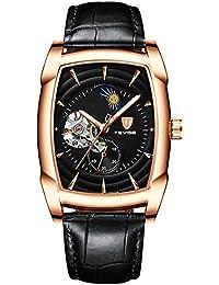 a59190083a22 JSX Reloj de los Hombres Reloj mecánico automático de los Hombres  Tourbillon Deportes Impermeable Fase Lunar Correa de Cuero Reloj de los…