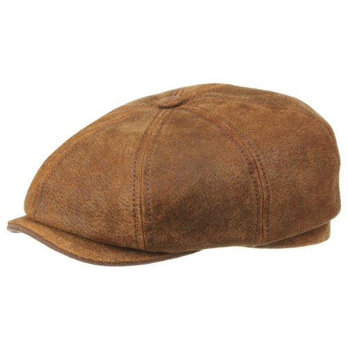 burney-hatteras-in-pelle-stetson-beanie-sportivo-cappello-piatto-l-58-59-marrone