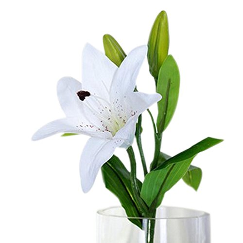 CLEARANCE! MEIbax 5pcs neue seide blume künstliche lilien strauß 3 köpfe home hochzeit florale dekor (Weiß)