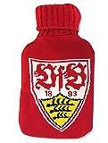VfB Stuttgart Wärmflasche / Bettflasche weiß-rot gestrickt mit Logo Baumwolle Fanartikel